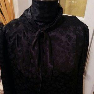 Vintage reversible black top w/ floral print