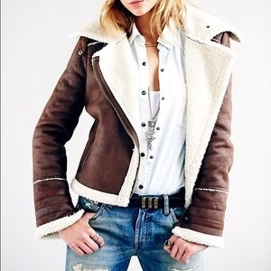 Free People Vegan Shearling Motorcycle Jacket