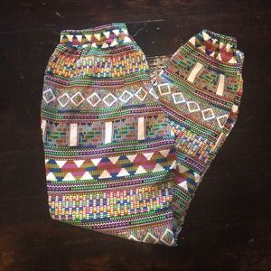 Bright rainbow tribal parachute pants