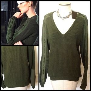 L.A.M.B.  Military Style V-Neck Wool Blend. NWT