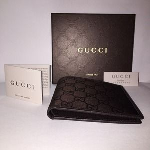 Authentic Gucci GG Monogram Canvas/Leather Wallet