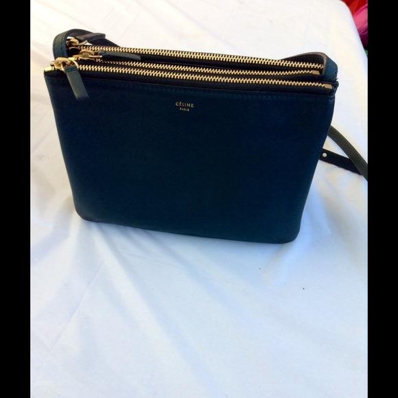 b0e8c5972808 Celine Handbags - SALE   CELINE TRIO HUNTER GREEN (small)