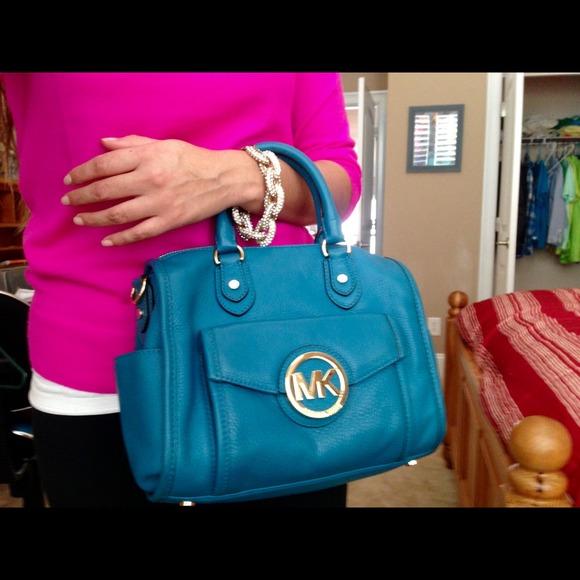 69% off Michael Kors Handbags - Michael Kors Turquoise Margo Style ...