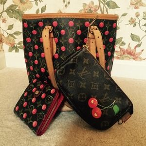 Louis Vuitton Cherries Tote w makeup bag & wallet
