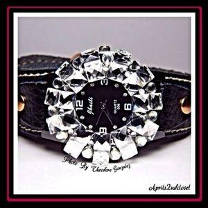 Statement Crystal Black Glam Watch