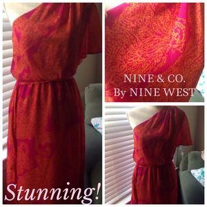 Nine West Full-length One-shoulder Dress