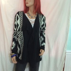 Geometric print long cardigan