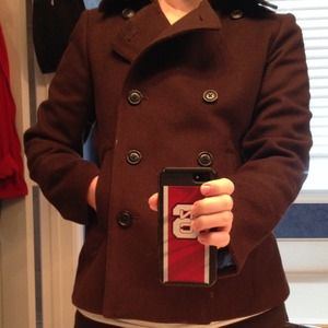 J. Crew chocolate brown pea coat. Petite Small