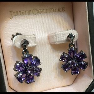 E-stone Floral Purple Juicy Couture stud Earrings
