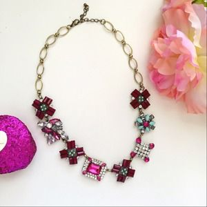 Pink Rhinestone statement necklace