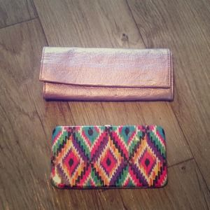 Metallic clutch and Aztec print Wallet