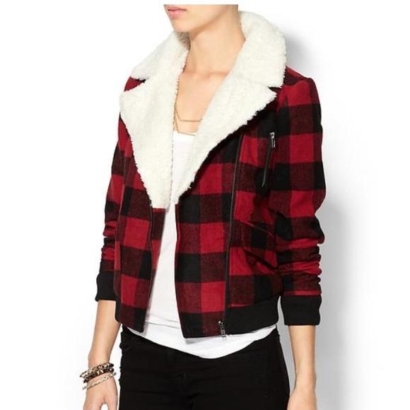 50% off pim   larkin Jackets &amp Blazers - Red plaid shearling
