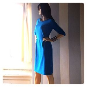 Blue Ponte stretch knit dress new condition