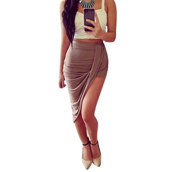 38% off Dresses & Skirts - BUNDLE mocha asymmetrical high waist ...