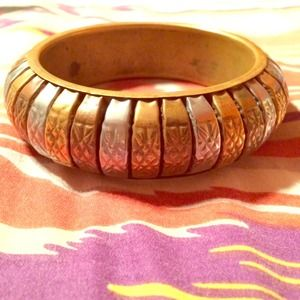 Gorgeous Tri Color Vintage Brass Bangle.