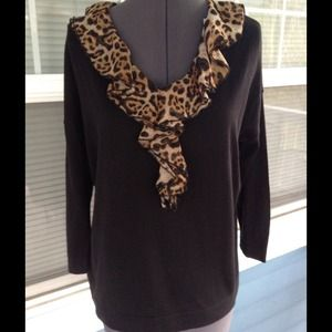 august silk Sweaters - AUGUST SILK Black w/Animal Ruffle Sweater Top