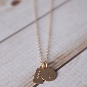 LucyMint Jewelry - Duo Tag Circle and Rectangle Gold Filled Necklace