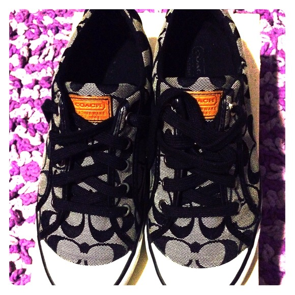 Macy's Black & White Coach Shoes
