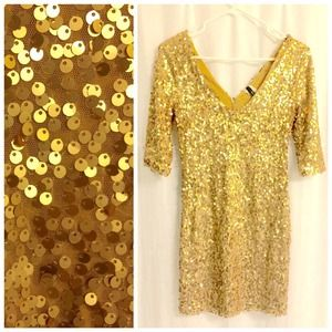 Dresses & Skirts - Gold Sequin Holiday Party Dress