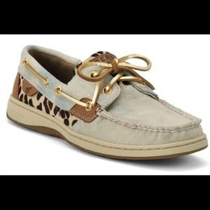 New!! Sperry Top-Sider denim leopard boat shoes