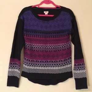 Mossimo Supply Co Sweaters - NWOT Target Black/Purple Fair Isle Sweater Sz S