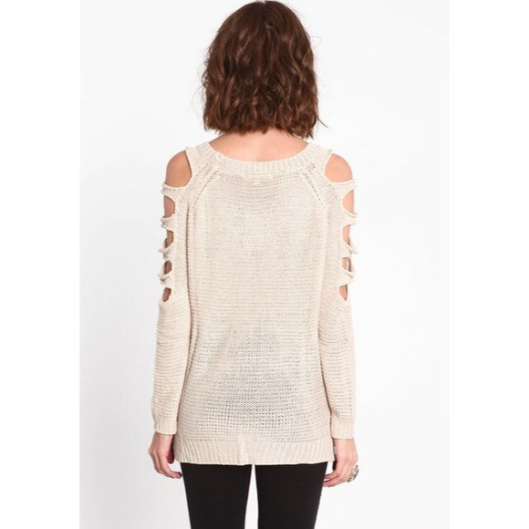 Arm Knitting Pullover : Off sweaters ️️sold ️ beige taupe arm cut out knit