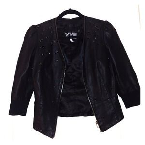 Black forever 21 faux leather jacket studded