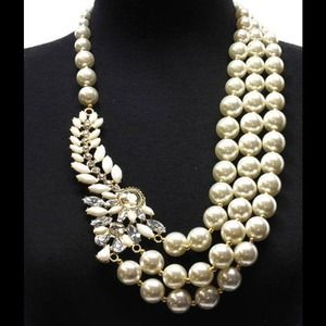 Multilayered Lucite Bead Pearl Necklace