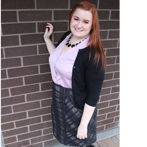 Sejour Dresses & Skirts - Purple & Black Plaid Pencil Skirt