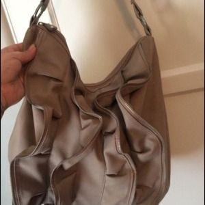 Donating Friday Taupe ruffle zipper tote