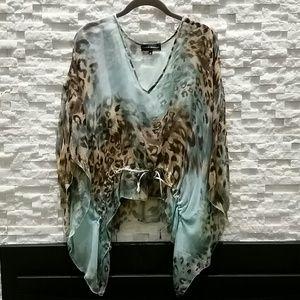 Karina Grimaldi Tops - Gorgeous sheer animal print tie tunic