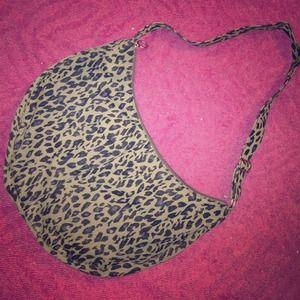 Canvas leopard print messenger bag