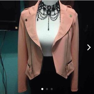 brand new light pink with black blazer