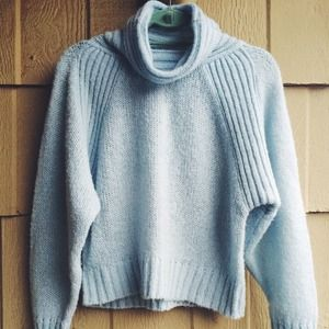 Sweaters - Light Blue Turtleneck Sweater