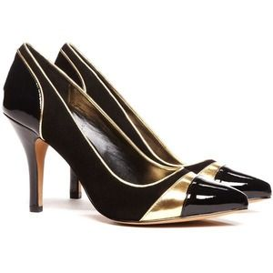 Sole Society Black & Gold Suede Pump