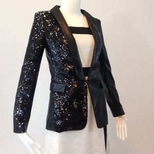 POV Jackets & Blazers - TOV Pleather/Sequins Blazer NWT