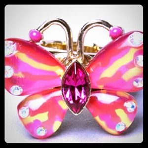 "The Betsey Johnson ""Hawaii Luau"" Butterfly Ring."