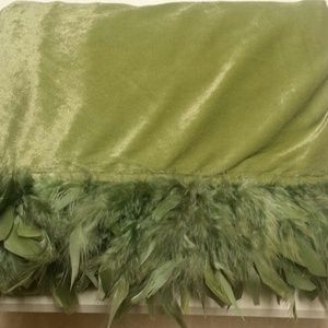 New Pottery Barn Moss Green Velour & Feather Throw