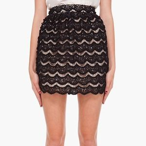 Alice and olivia black sequin skirt 0