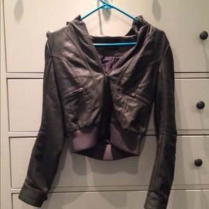 Hooded  grey leather jacket