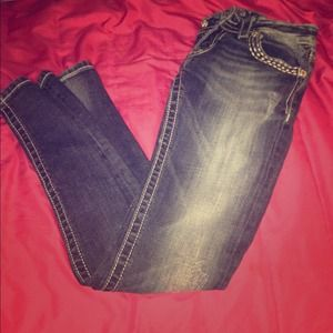 MISS ME Jeans skinny silver embroidered