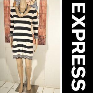 NWOT Express Striped Sweater Dress W/ Pockets