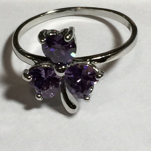 52 jewelry 10k white gold filled amethyst ring 7 5