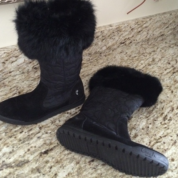 cheap best prices discount finishline Coach Fur-Trimmed Quilted Boots limited edition cheap price CSl7Af9X7