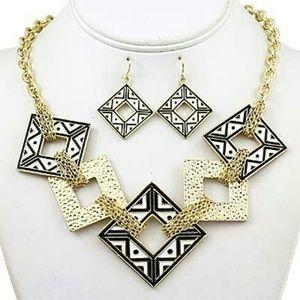 Geometric Enameled Necklace Set