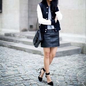 New Black-White Quilted Varsity Jacket