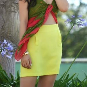 Dresses & Skirts - Chartreuse Mini Skirt with Pocket Details