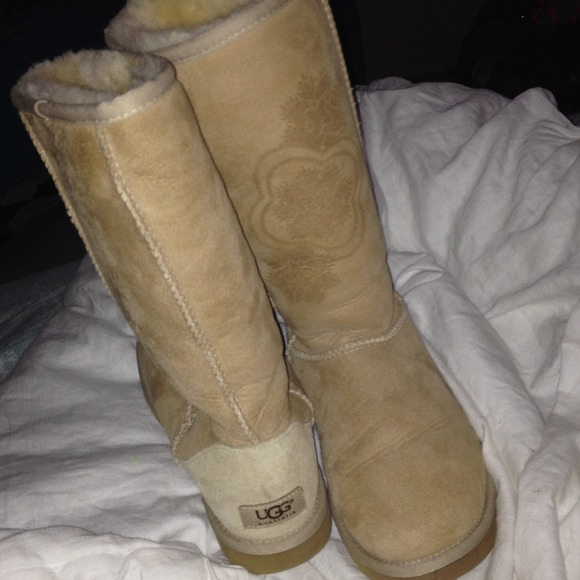 Light tan uggs with flowers
