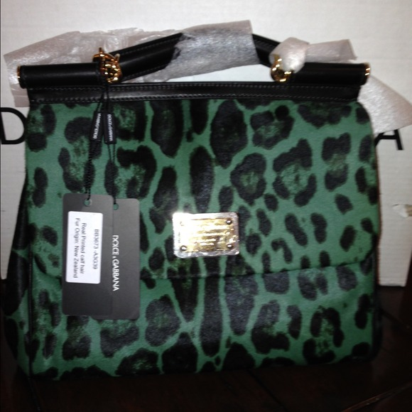 fb2df436f6e4 Dolce   Gabbana Green Leopard-Print Dyed Calf Hair