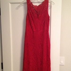 BCBG red lace cocktail dress, size 0.